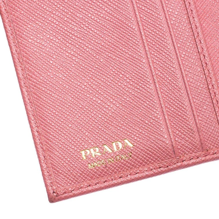 Prada Pink Saffiano Leather Bow Flap Trifold Wallet For Sale 6