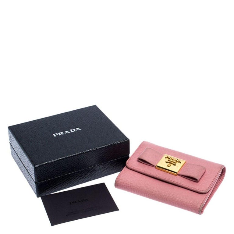 Prada Pink Saffiano Leather Bow Flap Trifold Wallet For Sale 7