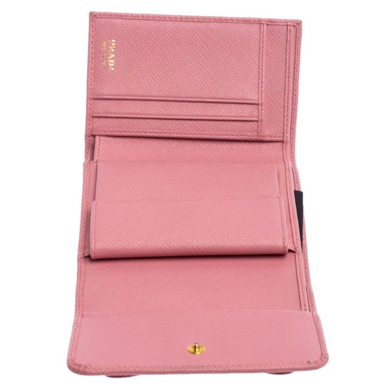 Prada Pink Saffiano Leather Bow Flap Trifold Wallet For Sale 1