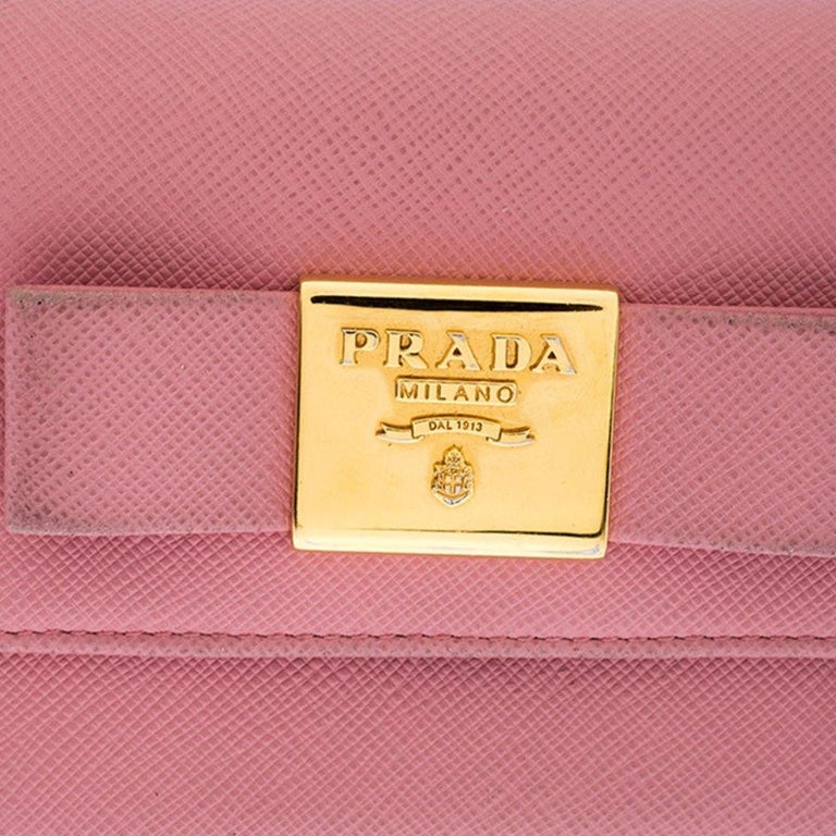 Prada Pink Saffiano Leather Bow Flap Trifold Wallet For Sale 3