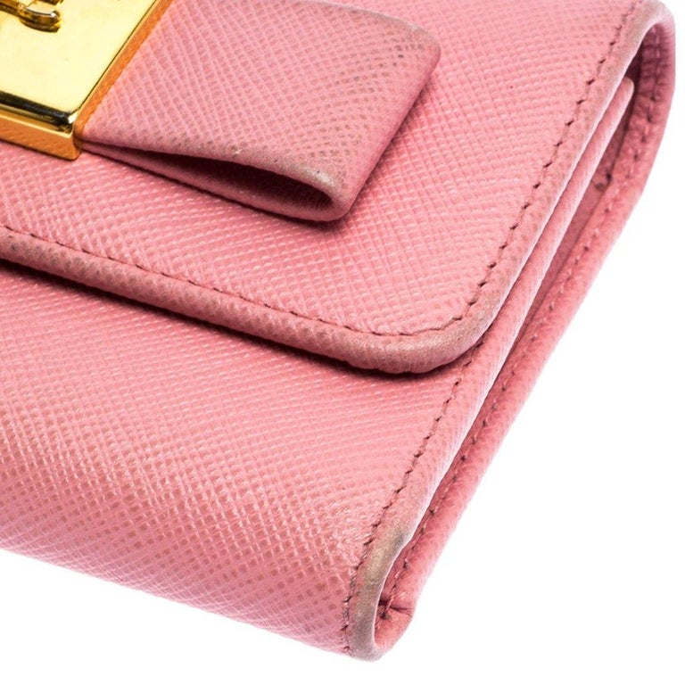 Prada Pink Saffiano Leather Bow Flap Trifold Wallet For Sale 4