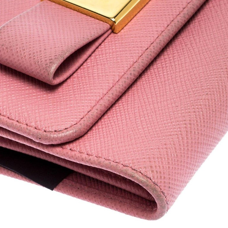 Prada Pink Saffiano Leather Bow Flap Trifold Wallet For Sale 5