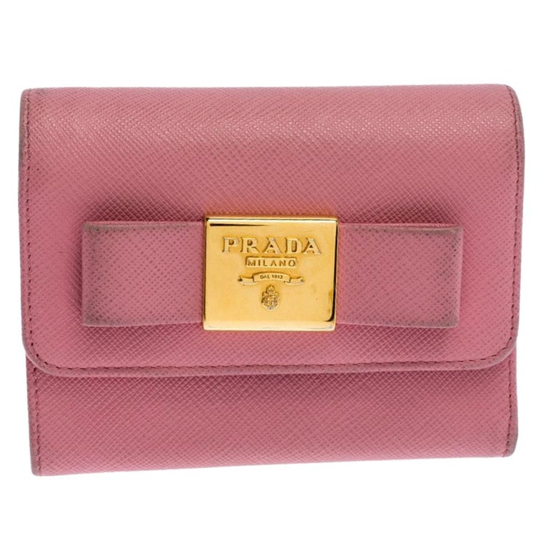 Prada Pink Saffiano Leather Bow Flap Trifold Wallet For Sale