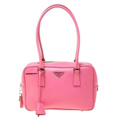 Prada Pink Saffiano Leather Bowler Bag