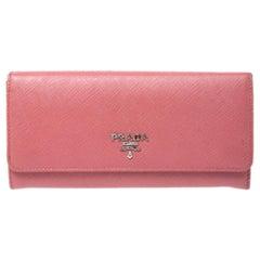 Prada Pink Saffiano Leather Continental Wallet