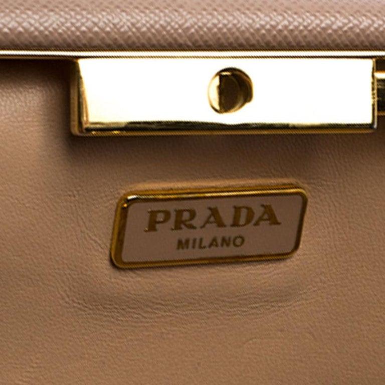 Prada Pink Saffiano Leather East-West Frame Clutch For Sale 6