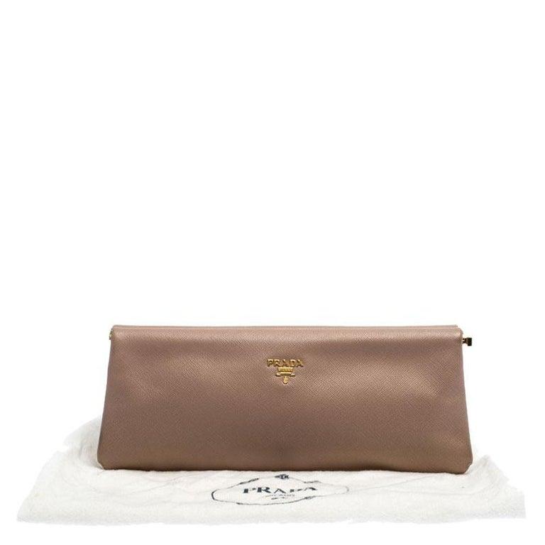 Prada Pink Saffiano Leather East-West Frame Clutch For Sale 7
