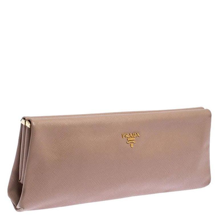 Women's Prada Pink Saffiano Leather East-West Frame Clutch For Sale