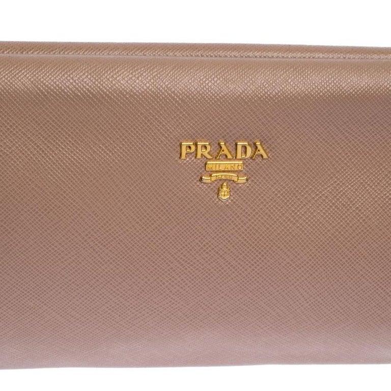 Prada Pink Saffiano Leather East-West Frame Clutch For Sale 2