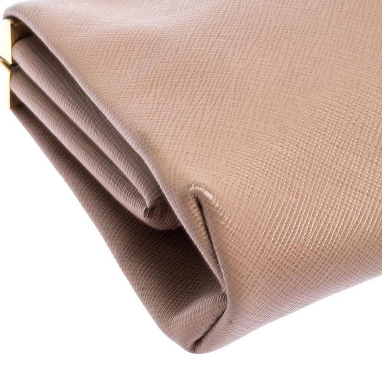 Prada Pink Saffiano Leather East-West Frame Clutch For Sale 3