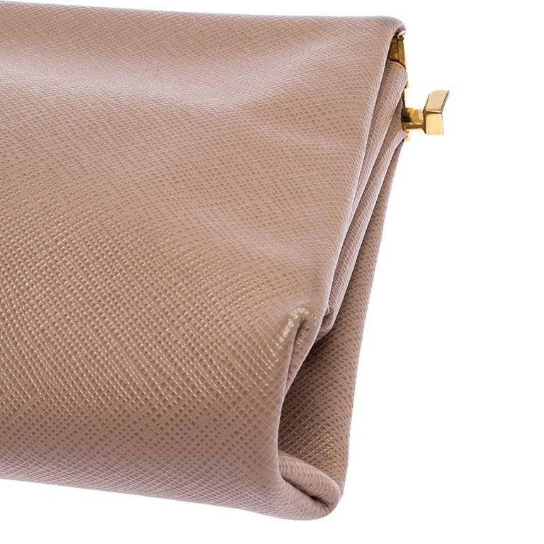 Prada Pink Saffiano Leather East-West Frame Clutch For Sale 4