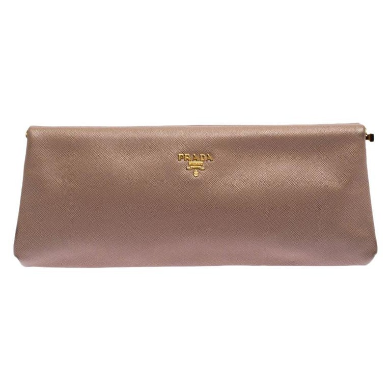 Prada Pink Saffiano Leather East-West Frame Clutch For Sale