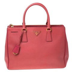 Prada Pink Saffiano Leather Medium Double Zip Tote