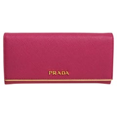 Prada Pink Saffiano Leather Metal Bar Flap Continental Wallet