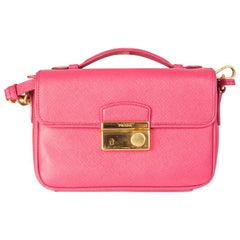PRADA pink Saffiano leather MINI SOUND Crossbody Shoulder Bag