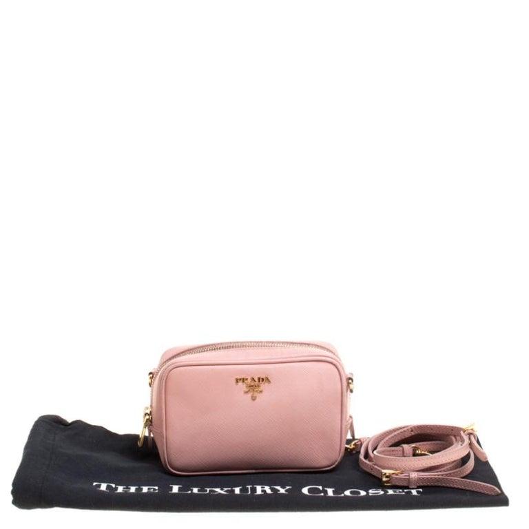 Prada Pink Saffiano Lux Leather Camera Crossbody Bag For Sale 7