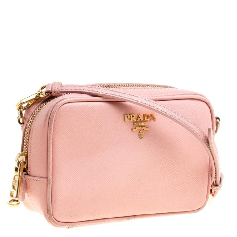 Women's Prada Pink Saffiano Lux Leather Camera Crossbody Bag For Sale