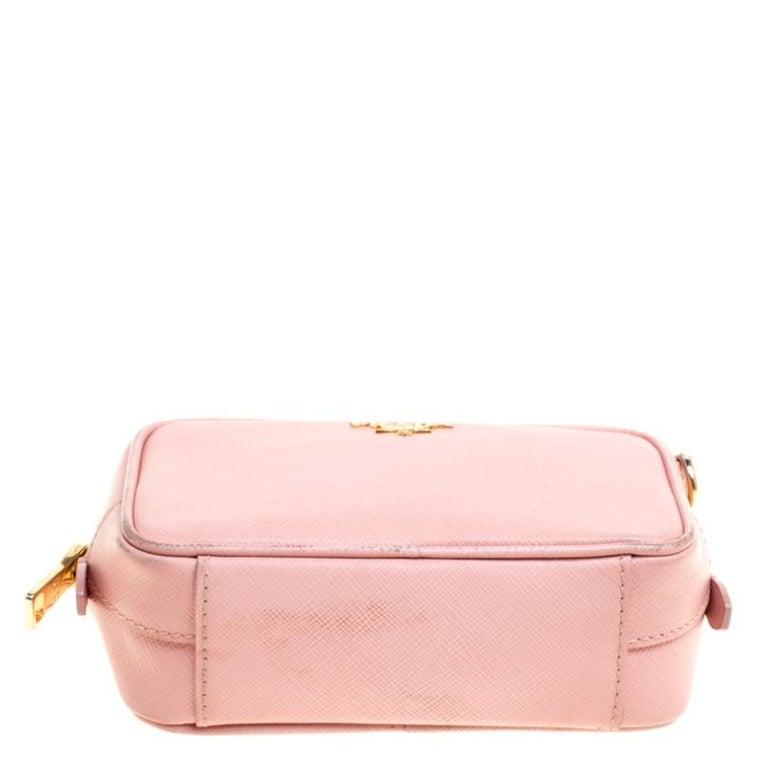 Prada Pink Saffiano Lux Leather Camera Crossbody Bag For Sale 1