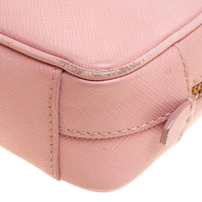 Prada Pink Saffiano Lux Leather Camera Crossbody Bag For Sale 2