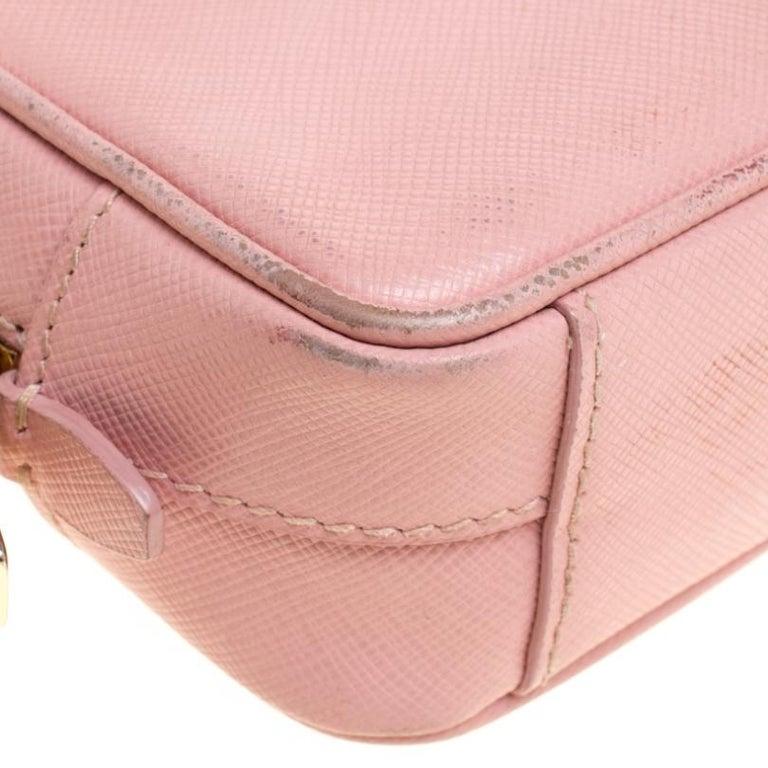 Prada Pink Saffiano Lux Leather Camera Crossbody Bag For Sale 3