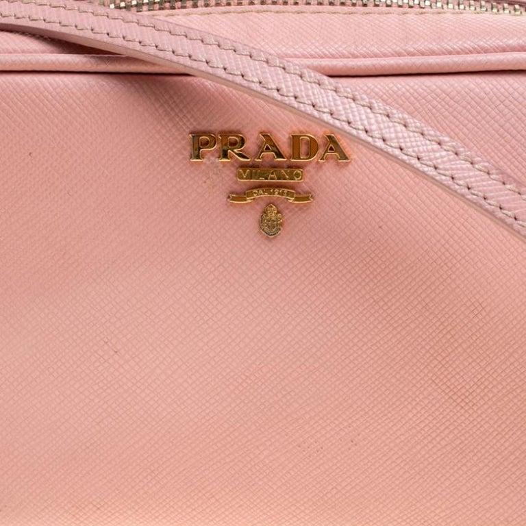 Prada Pink Saffiano Lux Leather Camera Crossbody Bag For Sale 5