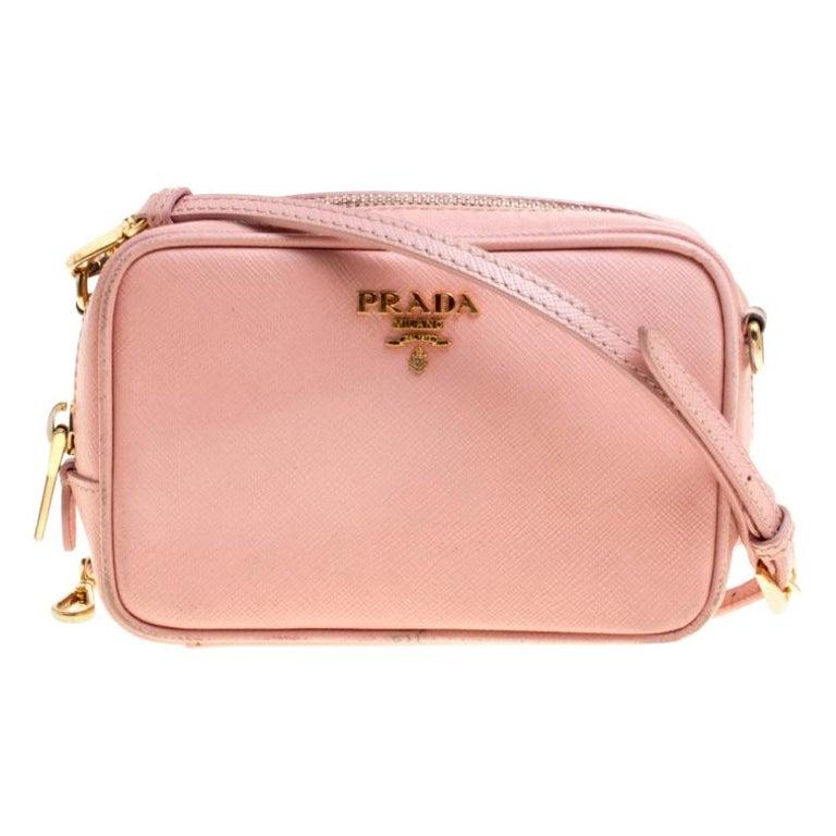 Prada Pink Saffiano Lux Leather Camera Crossbody Bag For Sale