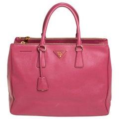 Prada Pink Saffiano Lux Leather Large Galleria Tote