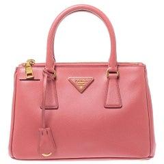 Prada Pink Saffiano Lux Leather Mini Double Zip Tote