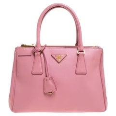 Prada Pink Saffiano Lux Leather Small Double Zip Tote