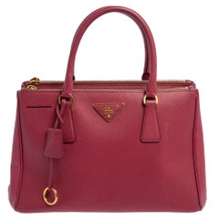 Prada Pink Saffiano Lux Leather Small Galleria Tote