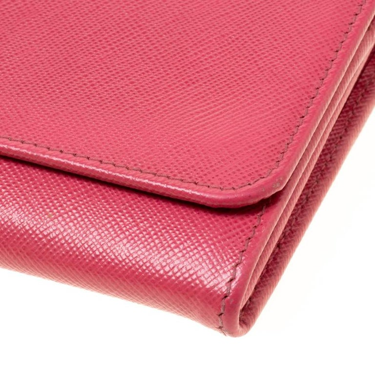 Prada Pink Saffiano Metal Leather Wallet on Chain For Sale 6