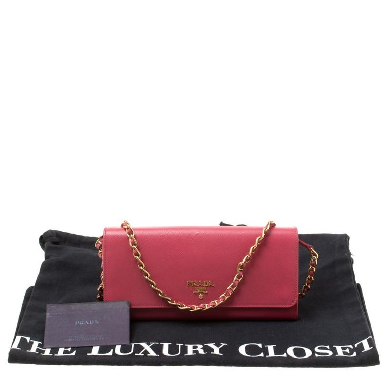 Prada Pink Saffiano Metal Leather Wallet on Chain For Sale 7