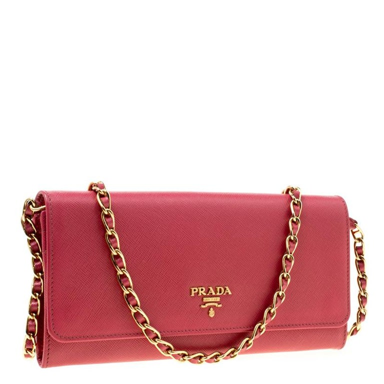 Women's Prada Pink Saffiano Metal Leather Wallet on Chain For Sale