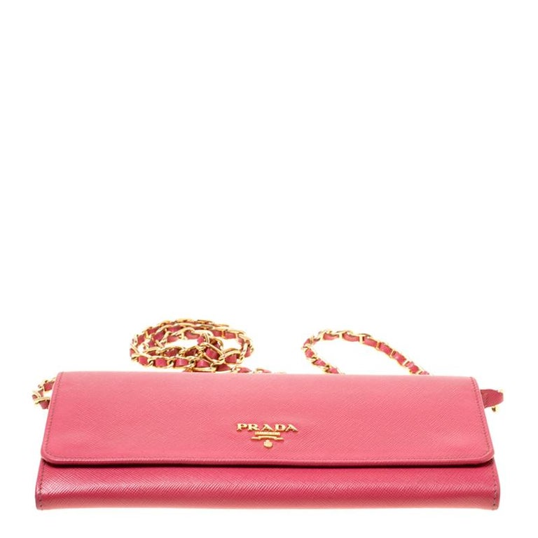 Prada Pink Saffiano Metal Leather Wallet on Chain For Sale 1