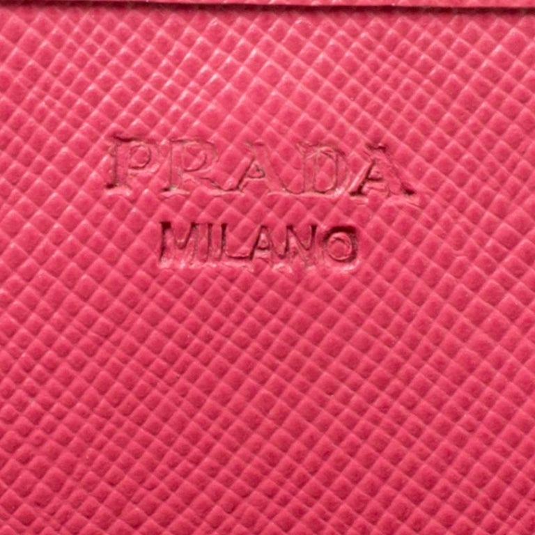 Prada Pink Saffiano Metal Leather Wallet on Chain For Sale 2
