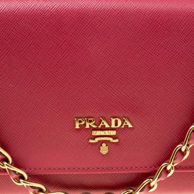 Prada Pink Saffiano Metal Leather Wallet on Chain For Sale 4