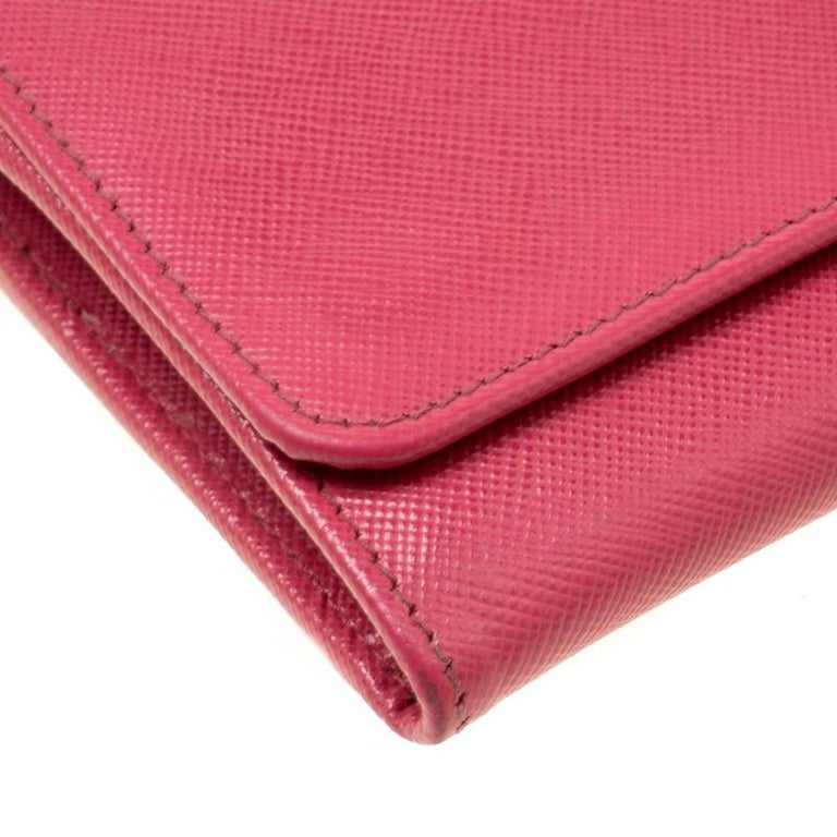Prada Pink Saffiano Metal Leather Wallet on Chain For Sale 5