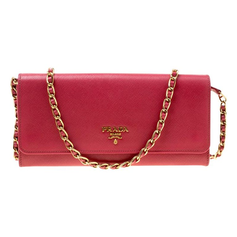 Prada Pink Saffiano Metal Leather Wallet on Chain For Sale