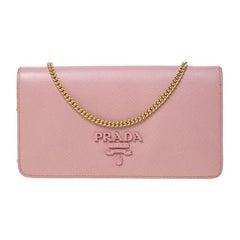 Prada Pink Saffiano Shine Leather Mini Chain Bag