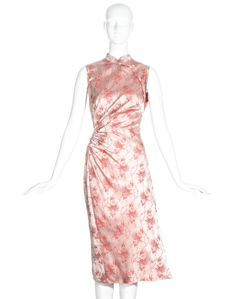 Prada pink silk brocade cheongsam style mid-length dress with ruched seam on waist.  c. 2003