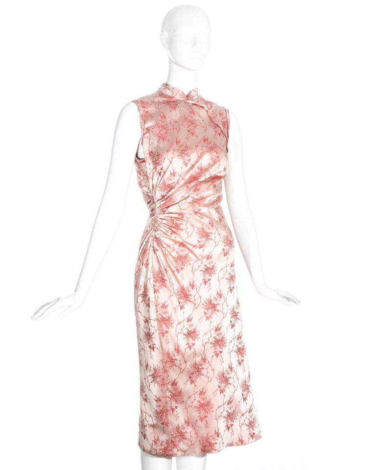 Women's Prada pink silk brocade cheongsam style mid-length dress, c. 2003 For Sale