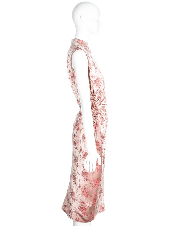 Prada pink silk brocade cheongsam style mid-length dress, c. 2003 For Sale 3