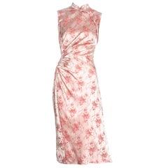 Prada pink silk brocade cheongsam style mid-length dress, c. 2003