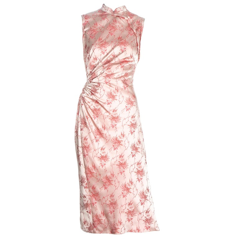 Prada pink silk brocade cheongsam style mid-length dress, c. 2003 For Sale