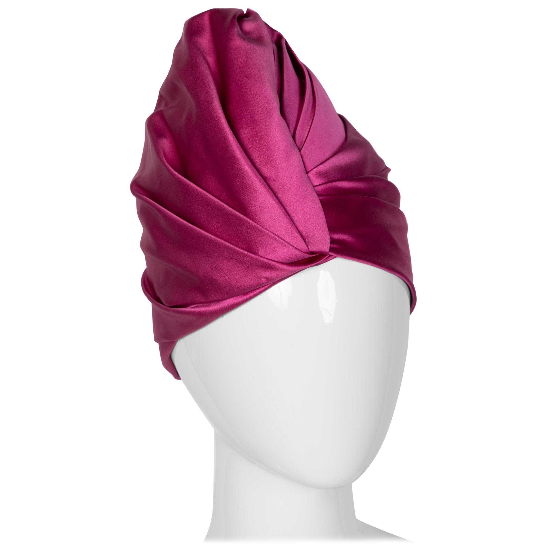 Prada Pink Silk Satin Turban Hat Runway, 2007