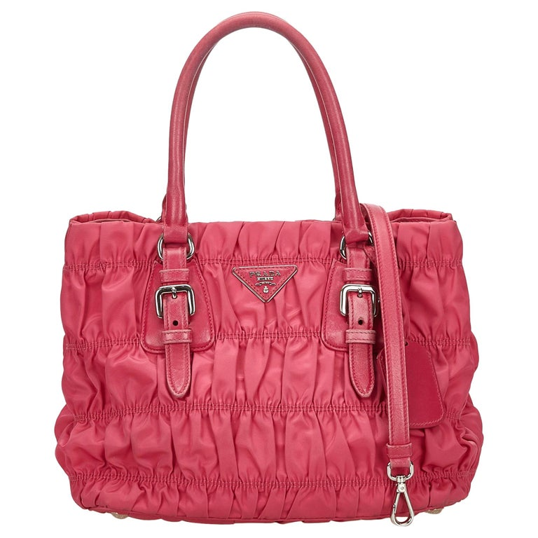 c5b69c9c81d359 Prada Pink Tessuto Gathered Nylon Satchel For Sale at 1stdibs