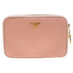 Prada Pink White/Saffiano Lux Leather Camera Chain Crossbody Bag