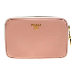 Prada Pink White/Saffiano Lux Leather Camera Chain Crossbody Bag