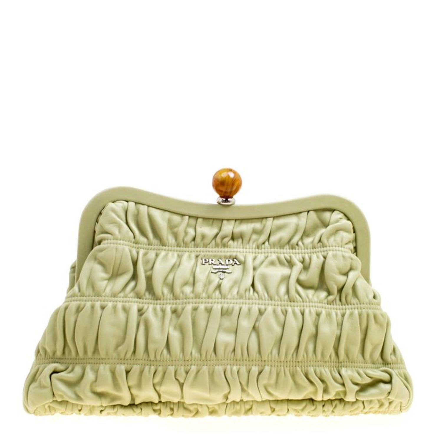6464fd6d679d Prada Pistachio Nappa Gaufre Leather Frame Clutch For Sale at 1stdibs