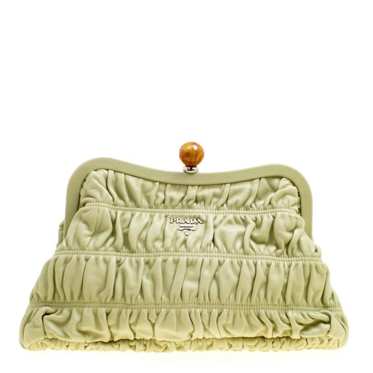 Pistachio Green Leather Sofa: Prada Pistachio Nappa Gaufre Leather Frame Clutch For Sale